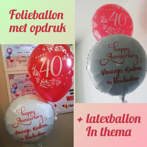 1 x Folieballon 45 cm  met eigen tekst + 1 x latexballon