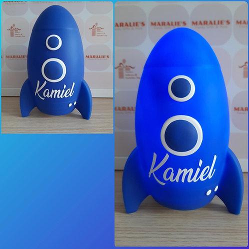 LED Raket Galaxy BLUE met NAAM 19cm.