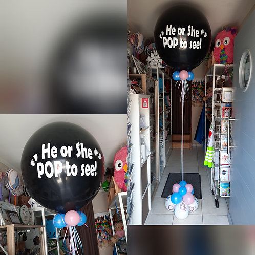 Zwarte ballon met tekst 36inch met helium.