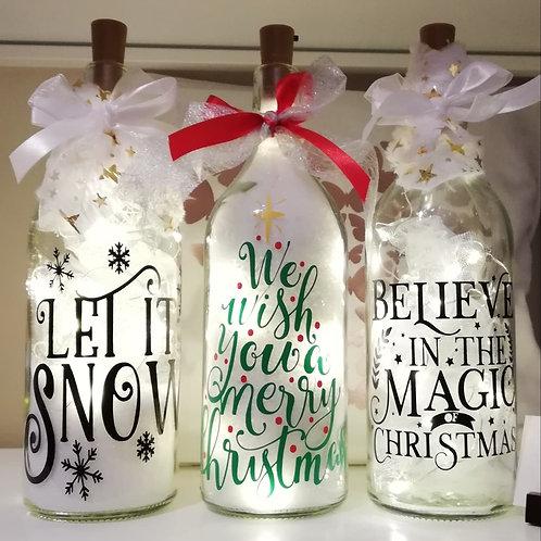 Glazen fles met lichtjes!