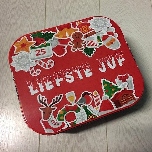 DEZE: Delacre 1 kg koekjesdoos met tekst.