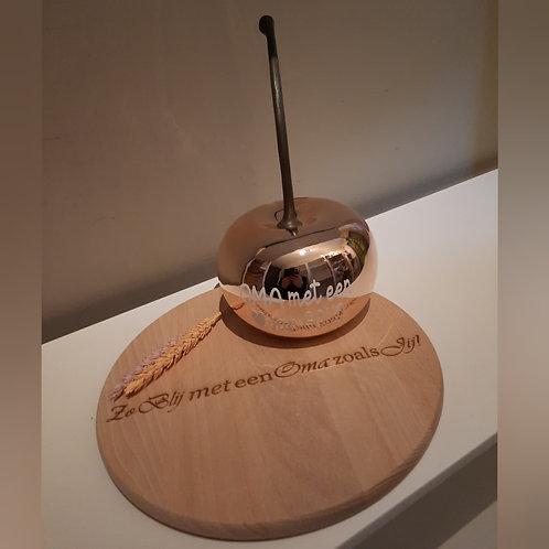 Grote kers + Gepersonaliseerde houten schijf.
