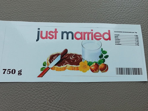 NUTELLA STICKER: Just Married (Enkel de sticker)