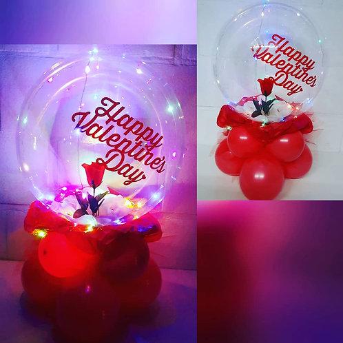 Ballon met roos en lichtjes!