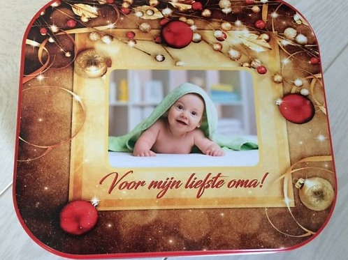 DEZE: Delacre 1 kg koekjesdoos met foto.