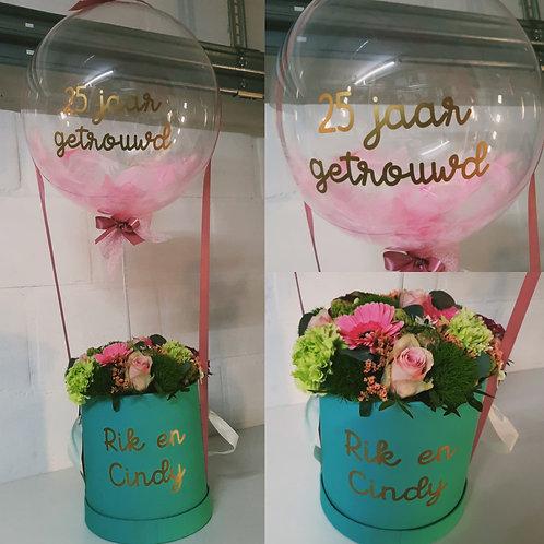 Flowerbox + Ballon met pluimen!