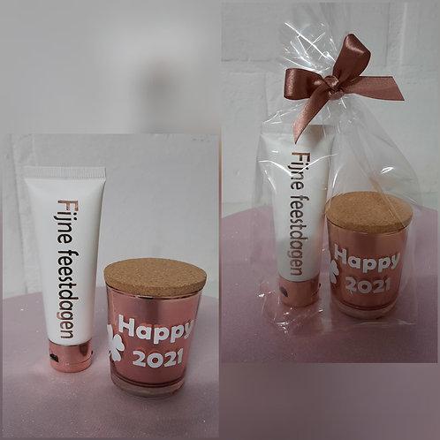 SET Handcrème & ROSE GOUD Kaarsje