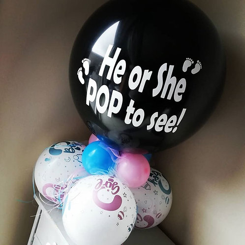 """He or She pop to see!"" Tafelballon GENDER REVEAL"