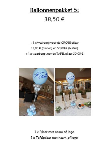 Ballonpakket 5 (met waarborg incl. TAFELPILAAR & BUITENPILAAR 80,00 €)