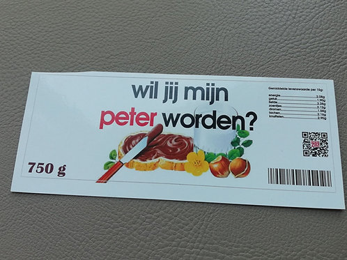 NUTELLA STICKER: Wil jij mijn peter worden? (Enkel de sticker)