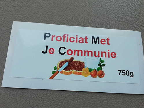 NUTELLA STICKER: Proficiat met je Communie (Enkel de sticker)