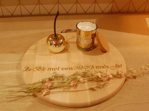 Geurkaarsje & Kersje + Gepersonaliseerde houten schijf.