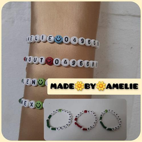 Naam + telefoonnummer armbandje.