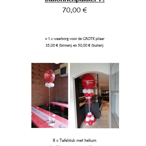 Ballonpakket 7 (met waarborg BINNENPILAAR 35,00 €)