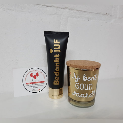 SET Handcrème &  Kaarsje: Bedankt JUF + Jij bent goud waard!