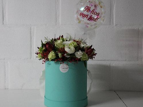 Flowerbox + Confettiballon met tekst!