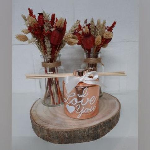 2 x Droogbloemen in vaasje + Parfumfles 200 ML ROSE GOUD