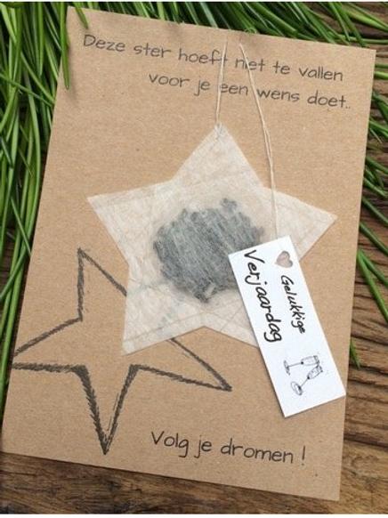 Wenskaart Thee Ster: Deze ster hoeft niet te vallen voor je een wens doet.. Volg