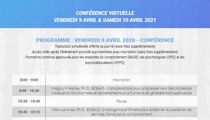 10e conférence annuelle de l'Association québécoise d'analyse comportementale