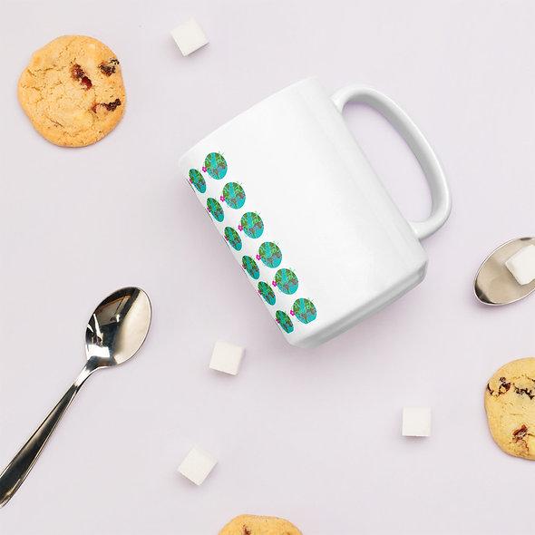 Patterned Sweet Intuition World White glossy mug
