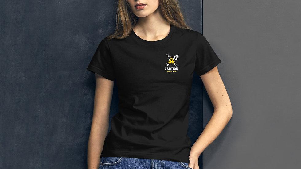 Women's Caution: Baker at work t-shirt