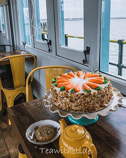 Carrot Cake and tea at Tea with the Tide