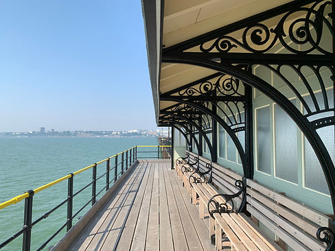View of Southend from one of the shelters on Southend Pier