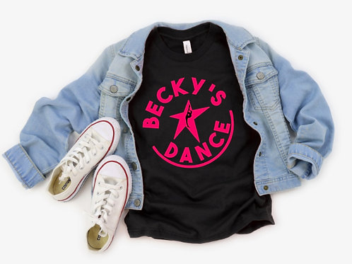 Becky's Black Adult T-Shirt w/ Pink Circle