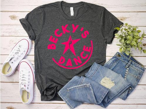Becky's Grey Adult T-Shirt w/ Pink Circle