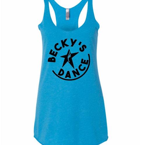 Becky's Blue Adult Tank w/ Black Circle