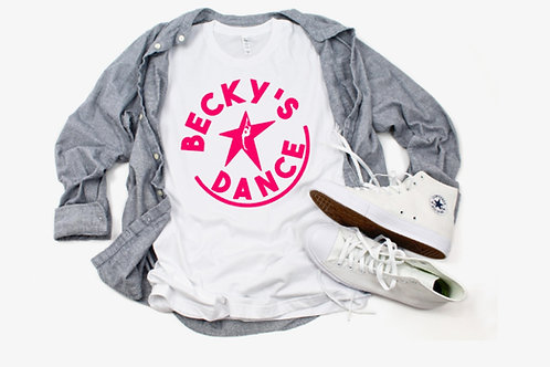 Becky's White Adult T-Shirt w/ Pink Circle