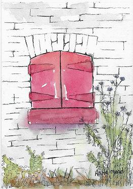 Red Shuttered Window