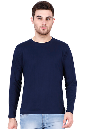 Navy Blue Full Sleeves Round Neck Tees