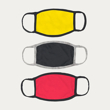Cotton Masks PACK of 3 - YELLOW+BLACK+RED+FREE SHIPPING