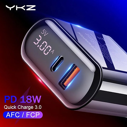 YKZ QC 3.0,4.0 USB Charger LED Display Fast Charger