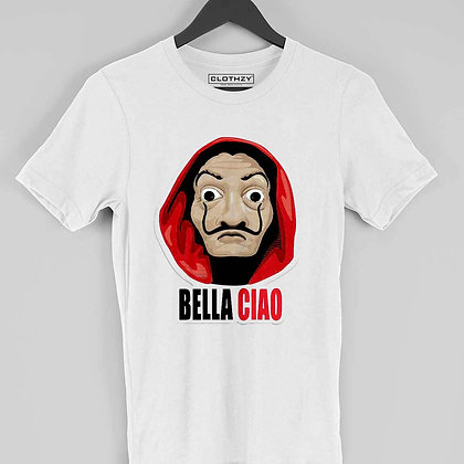 Bella Ciao Money Hiest Front Print White Tees