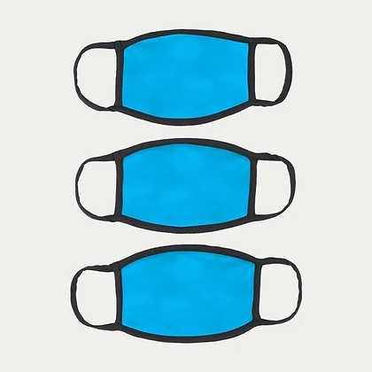 Cotton Masks PACK of 3 - SKY BLUE+FREE SHIPPING