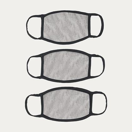 Cotton Masks PACK of 3 - GREY MELANGE+FREE SHIPPING