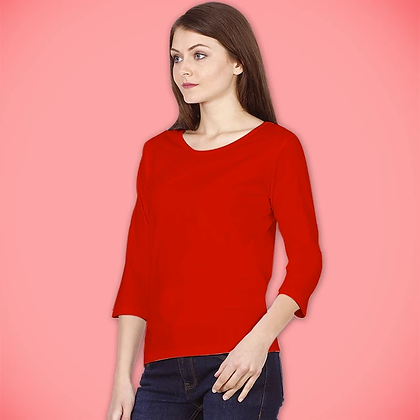 Red 3/4th Sleeves Top