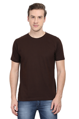 Coffee Brown Round Neck Tees