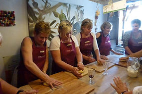Making pasta at a Tuscan cooking school