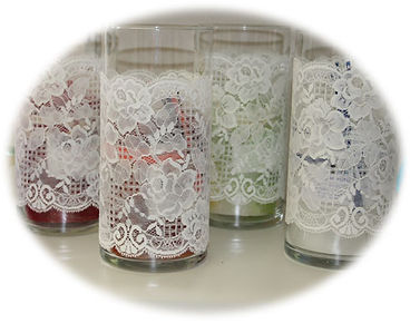 Candles scented, candle, jar, lace
