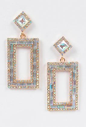 Open Cut Rhinestone Earrings