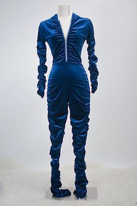 Feeling Comfy Velvet Jumpsuit- Blue