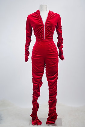 Feeling Comfy Jumpsuit- Red