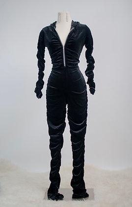 Feeling Comfy Velvet Jumpsuit- Black