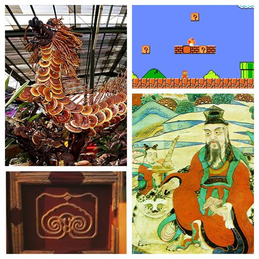 Collage of Reishi (Reishi Mushroom Dragon (top left), Super Mario Bros reishi mushroom (top right), Chinese Palace Reishi (Ling Zhi) Block Print on Palace Door (bottom left), Chinese Emperor painting holding Reishi (bottom right)