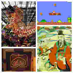 Collage of Reishi (Reishi Mushroom Dragon (top left), Super Mario Bros reishi mushroom (top right), Chinese Palace Reishi (Ling Zhi) Block Print on Palace Door (bottom left), Chinese Emperor painting holding Reishi (bottom right)