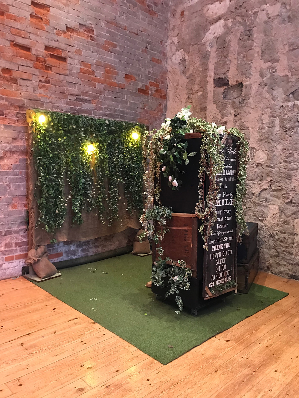 Rustic Photo Booth at a  Lulworth Castle wedding