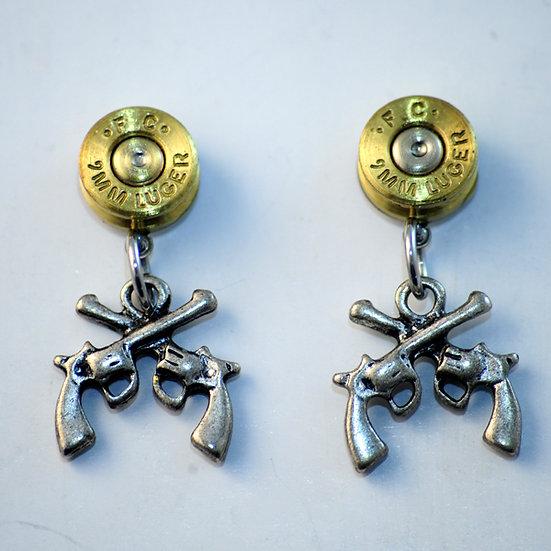 Stud Cross Pistol Earrings